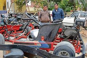 The go-kart that claimed a woman's life at an amusement park, lying at the Pinjore police station.