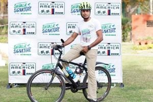 Srinivas Gokulnath during the press conference announcing  Shivalik Signature, a 615km two-day qualifier race for Race Across America (RAAM) 2018 to be held in Chandigarh on April 7-8.