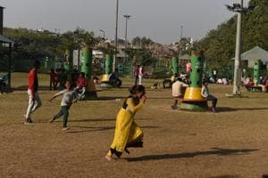 Children play at the Govindpuri Park in New Delhi. The SDMCtrimmed the hedges at the park for a clear view inside and installed open gyms, play areas for children and gazebos to increase footfall.
