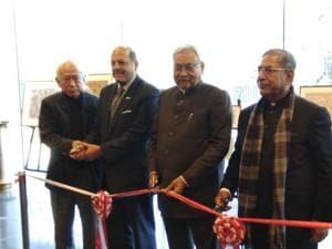 Chief minister Nitish Kumar inaugurating a Mithila painting exhibition in Tokyo on Tuesday.