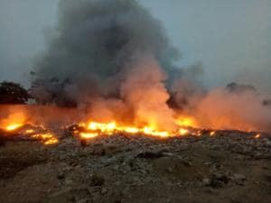 The waste pile that was set on fire had been lying unattended for months on a 6-acre vacant plot belonging to Huda.