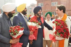 Canadian Prime Minister Justin Trudeau being welcomed by Union minister Hardeep Singh Puri (2R), Punjab cabinet minister Navjot Singh Sidhu (2L), MP Gurjeet Singh Aujla (2L) and Amritsar Mayor Karamjit Singh Rintu (L) during his visit to Partition Museum at town hall in Amritsar on Wednesday.