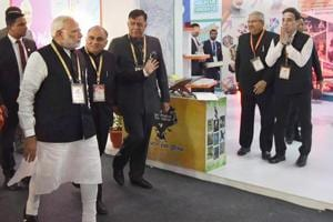 Prime Minister Narendra Modi after the inauguration of the Investors Summit 2018 in Lucknow on Wednesday.