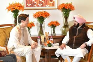 Canadian prime minister Justin Trudeau with Punjab chief minister Amarinder Singh at a hotel in Amritsar on Wednesday.