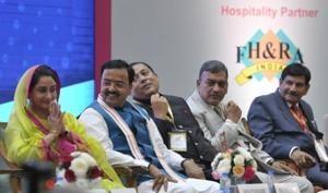 Union minster Harsimrat Kaur Badal at investors' summit.