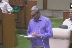 Goa CM Manohar Parrikar presents budget in the state assembly.