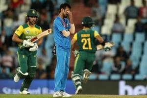 Yuzvendra Chahal reacts after missing a return catch during the 2nd T20 between South Africa and India at the SuperSport Park in Centurion on Wednesday.