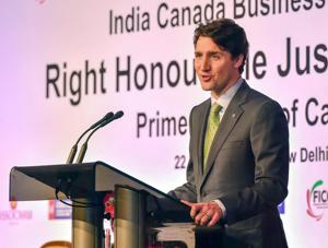 Canadian Prime Minister Justin Trudeau addresses the India Canada Business Session in New Delhi on February 22, 2018.