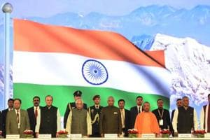 President Ram Nath Kovind with governor Ram Naik, CM Yogi Adityanath, union ministers at the concluding function.