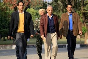 """The Centre had appointed Dineshwar Sharma (centre), a former director of the Intelligence Bureau, to """"initiate and carry forward a dialogue"""" in Kashmir last October."""