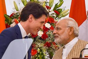 Prime Minister Narendra Modi and his Canadian counterpart Justin Trudeau during their joint press conference at Hyderabad House in New Delhi on Friday.