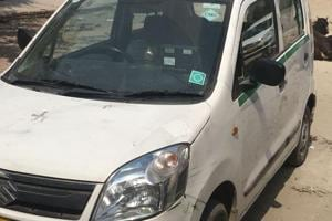 The car that the thieves were trying to steal in southeast Delhi's Jaitpur late Friday night.
