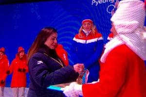 Nita Ambani presents Alpine Skiing medals at 2018 Winter Olympics