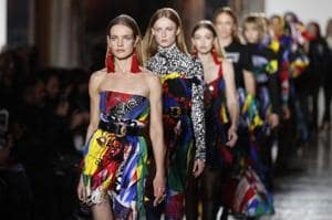 Versace rocks Milan Fashion Week with loud and colourful college style