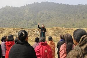 Rekha Rose Dukru, an independent candidate from the Chizami seat, addresses a gathering of women at a village in Phek district. The 35-year-old Dukru is one of five women candidates trying to become the first woman MLA in the state.