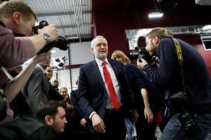Labour Party Jeremy Corbyn leaves after giving a speech on Brexit at the National Transport Design Centre at Coventry University on Monday.