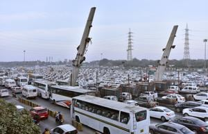 The route diversions hit traffic movement at the Sirhaul toll on Monday.