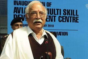 Union civil aviation minister Ashok Gajapathi Raju addressing a gathering during the inauguration function of Aviation Multi Skill Development Centre at old civil airport in Chandigarh on Tuesday.