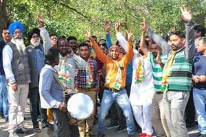 Supporters of Congress celebrate in Ludhiana as the party clean sweeps municipal corporation polls on Tuesday.