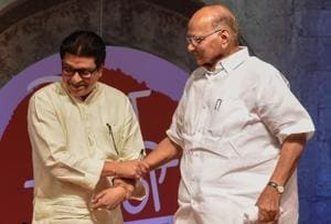 MNS chief Raj Thackarey and NCP chief Sharad Pawar shared the dais in Pune recently, where Thackeray interviewed Pawar.