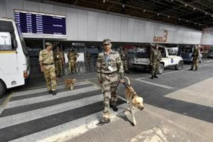 The airport is on high alert and random checks with metal detectors have been carried out to trace explosives.
