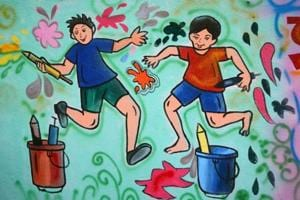 A group of 12 teachers have painted murals encouraging residents to celebrate in an eco-friendly manner.