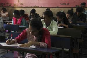 Mumbai, India - 21 Feb. 2018: Students appearing HSC exams at Sardar VallabhBhai Patel School,Dahisar in Mumbai, India, on Wednesday, February 21, 2018. (Photo by Pramod Thakur/ Hindustan Times)