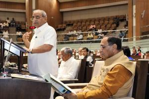 Gujarat deputy chief minister and finance minister Nitin Patel presents the state budget 2018-19 in the assembly in Gandhinagar on February 20.