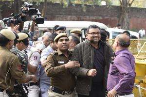 Karti Chidambaram, son of former finance minister P Chidambaram was produced by the CBI at Patiala house Court in connection with its probe in the INX media case in New Delhi on Wednesday.