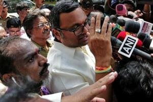 Karti Chidambaram, son of former finance minister P Chidambaram, talks to the media after the CBI raided his house, in Chennai  last year.