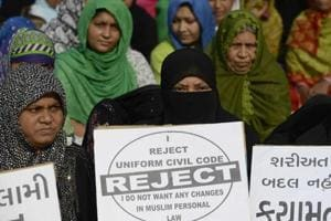 Muslim women at a rally to oppose the Uniform Civil Code in Ahmedabad on November 4, 2016.