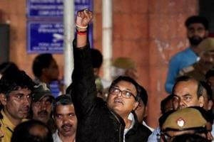 Karti Chidambaram leaves Patiala House Courts after he was remanded to five-day CBI custody in the INX Media case, in New Delhi on Thursday.