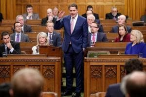 Conservative leader Andrew Scheer speaks in the House of Commons on Parliament Hill in Ottawa, Ontario, on February 28, 2018.