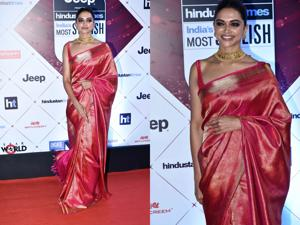 Deepika Padukone wore a beautiful silk sari to HT India's Most Stylish. She had worn the same to a friend's wedding last year.