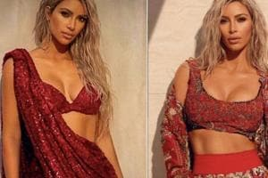 US reality TV star Kim Kardashian graces the cover of Vogue India's March 2018 issue, where she also posed in Sabyasachi Mukherjee (left) and Anamika Khanna ensembles.