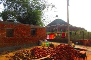 A house is being built close to the iconic Rash Mancha in Bishnupur.