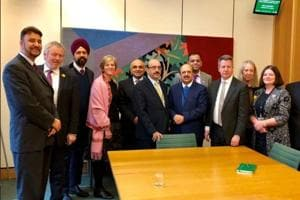 The president of Pakistan-occupied Kashmir, Masood Khan, seen with other participants at the meeting of the All Party Parliamentary Group (APPG) on Kashmir.