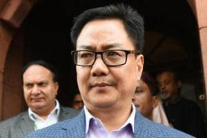 Union minister Kiren Rijiju coming out after attending the Parliament in New Delhi.