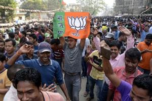 Bharatiya Janata Party supporters celebrate the party's win in Tripura, in Agartala on March 3, 2018. In Nagaland, the BJPhas a lead in around 10 seats.