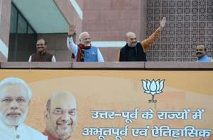 Prime Minister Narendra Modi and BJP president Amit Shah at the BJP headquarters in New Delhi on March 3