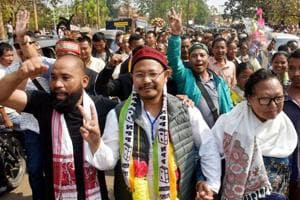 NPP's James Sangma displays victory sign after winning in Dadenggre constituency in the Meghalaya assembly elections on Saturday.