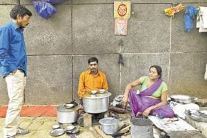 Beena Devi and Madan Lal  at their roadside eatery in Sadar Bazaar.