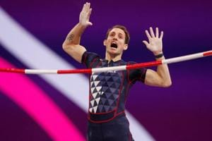 Renaud Lavillenie of France reacts during the men