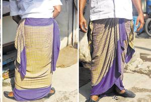 Many Delhiwallas cultivate a relationship with their lungis at home but quite a few also wear this outfit in public, especially when their work entails being under the searing sun all day long.