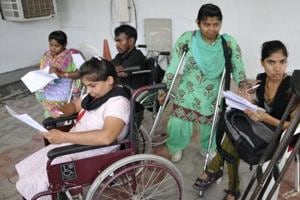 Disabled students at a job fair in Chandigarh.  The World Bank estimates that 15% of the world's population is affected by one disability or another. According to the 2011 Census, the number of disabled in India stands at 2.68 crore, or 2.21 per cent of the population.