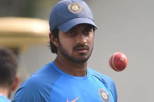 Indian cricketer Vijay Shankar attends the training session at the Vidarbha Cricket Association Stadium in Nagpur.