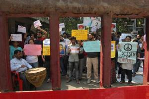 TISS students protest in front of the institute's main gate in Mumbai  on Monday.