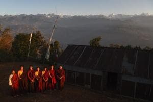 Photos: Nepalese monks trade robes for running shoes to become...