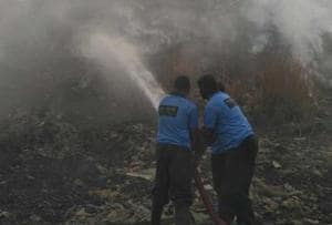 The dumping ground continued to release thick smoke on Wednesday morning, more than 12 hours after the fire started.