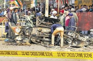 The blasts occurred during campaigning for assembly polls with Congress candidate Harminder Jassi, a relative of Dera Sacha Sauda chief Gurmeet Ram Rahim, having a narrow escape.